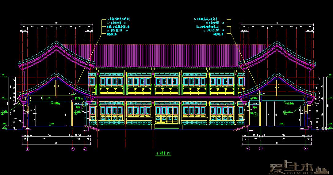 经典的四合院式办公楼CAD建筑图