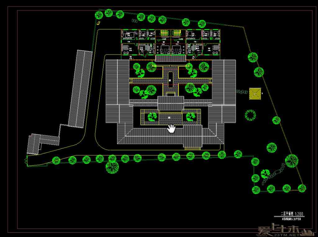 一套经典的二层四合院式住宅建筑平立面CAD图纸