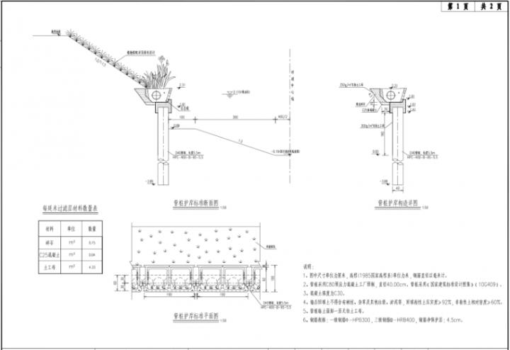 长三角地区河道整治工程施工图设计2020-管桩护岸构造图
