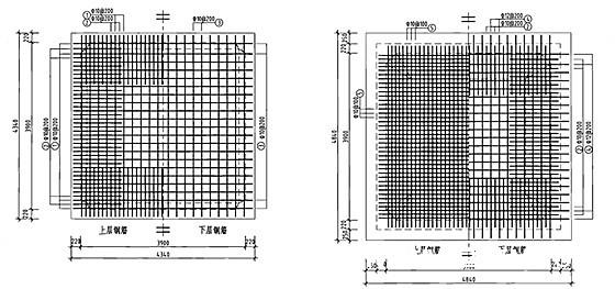 钢筋混凝土蓄水池工程施工图集186页(12种容积蓄水池)-50m3方形蓄水池顶、底板配筋图(池顶覆土500mm)