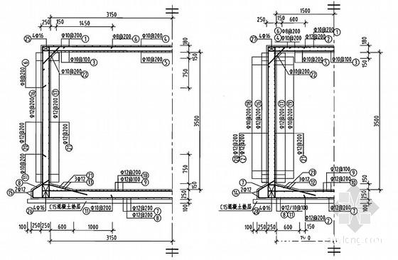 钢筋混凝土蓄水池工程施工图集186页(12种容积蓄水池)-50m3矩形蓄水池池壁剖面配筋图(池顶覆土500mm)