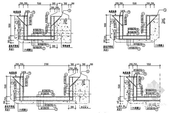 钢筋混凝土蓄水池工程施工图集186页(12种容积蓄水池)-吸水坑施工详图
