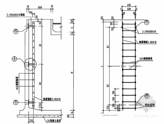 钢筋混凝土蓄水池工程施工图集186页(12种容积蓄水池)-钢梯大样图